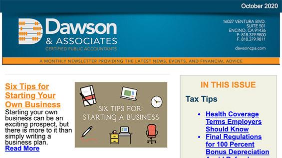 Dawson CPA Newsletter October 2020