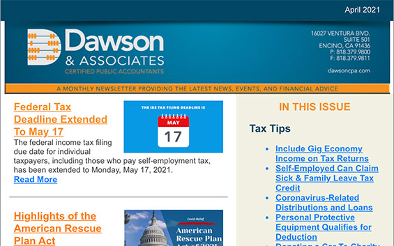 Dawson CPA April Newsletter