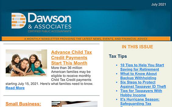 Dawson CPA Newsletter - July, 2021