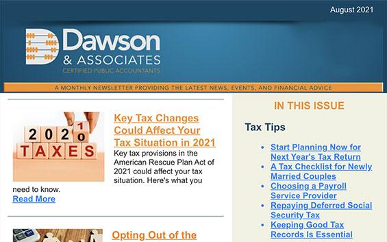 Dawson CPA August Newsletter